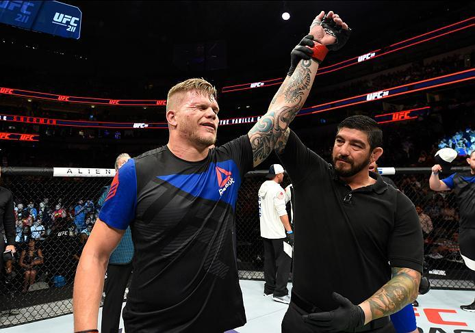DALLAS, TX - MAY 13:  Chase Sherman celebrates his TKO victory over Rashad Coulter in their heavyweight fight during the UFC 211 event at the American Airlines Center on May 13, 2017 in Dallas, Texas. (Photo by Josh Hedges/Zuffa LLC/Zuffa LLC via Getty Im