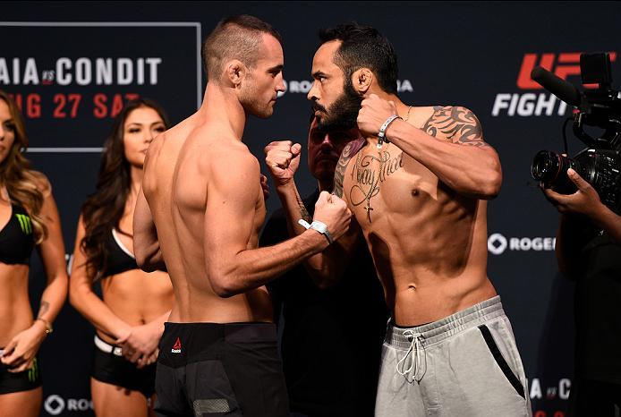 VANCOUVER, BC - AUGUST 26:  (L-R) Opponents Shane Campbell and Felipe Silva of Brazil face off during the UFC Fight Night Weigh-in at Rogers Arena on August 26, 2016 in Vancouver, British Columbia, Canada. (Photo by Jeff Bottari/Zuffa LLC/Zuffa LLC via Ge