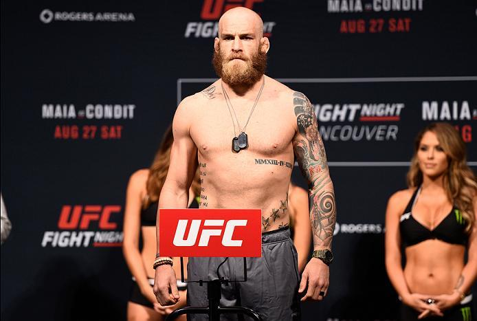VANCOUVER, BC - AUGUST 26:  Garreth McLellan of South Africa steps on the scale during the UFC Fight Night Weigh-in at Rogers Arena on August 26, 2016 in Vancouver, British Columbia, Canada. (Photo by Jeff Bottari/Zuffa LLC/Zuffa LLC via Getty Images)