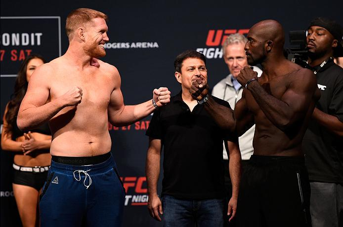 VANCOUVER, BC - AUGUST 26:  (L-R) Opponents Sam Alvey of the United States and Kevin Casey of the United States face off during the UFC Fight Night Weigh-in at Rogers Arena on August 26, 2016 in Vancouver, British Columbia, Canada. (Photo by Jeff Bottari/