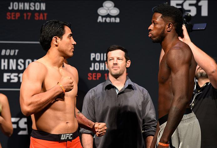 HIDALGO, TX - SEPTEMBER 16:  (L-R) Erick Montano of Mexico and Randy Brown of Jamaica face off during the UFC Fight Night weigh-in at the State Farm Arena on September 16, 2016 in Hidalgo, Texas. (Photo by Josh Hedges/Zuffa LLC/Zuffa LLC via Getty Images)