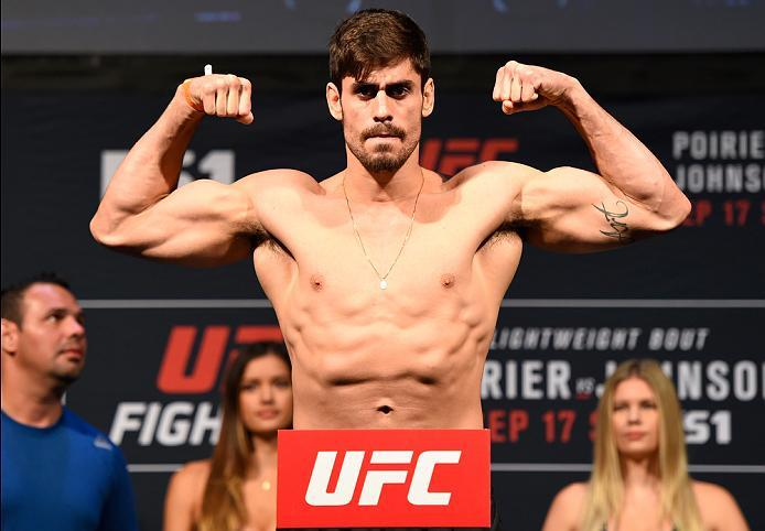 HIDALGO, TX - SEPTEMBER 16:  Antonio Carlos Junior of Brazil steps onto the scale during the UFC Fight Night weigh-in at the State Farm Arena on September 16, 2016 in Hidalgo, Texas. (Photo by Josh Hedges/Zuffa LLC/Zuffa LLC via Getty Images)