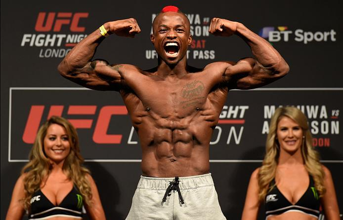 LONDON, ENGLAND - MARCH 17:  Marc Diakiese of the Congo poses on the scale during the UFC Fight Night weigh-in at The O2 arena on March 17, 2017 in London, England. (Photo by Josh Hedges/Zuffa LLC/Zuffa LLC via Getty Images)