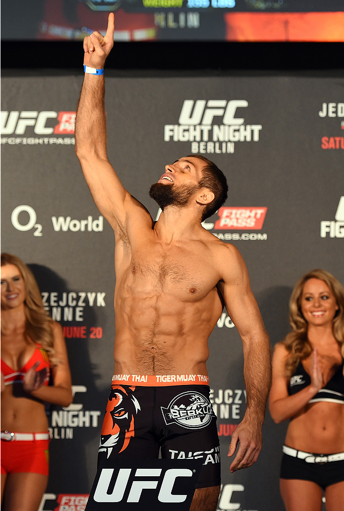 BERLIN, GERMANY - JUNE 19:   Mairbek Taisumov of Russia weighs in during the UFC Berlin weigh-in at the O2 World on June 19, 2015 in Berlin, Germany. (Photo by Josh Hedges/Zuffa LLC/Zuffa LLC via Getty Images)
