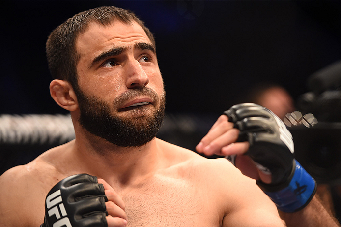 NEW ORLEANS, LA - JUNE 06:   Omari Akhmedov enters the Octagon before facing Brian Ebersole in their welterweight bout during the UFC event at the Smoothie King Center on June 6, 2015 in New Orleans, Louisiana. (Photo by Josh Hedges/Zuffa LLC/Zuffa LLC vi