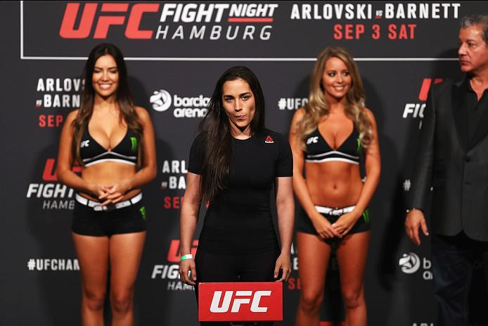 HAMBURG, GERMANY - SEPTEMBER 02:  Veronica Macedo of Venezuela is pictured during the UFC Fight Night Weigh-in held at Barclaycard Arena on September 2, 2016 in Hamburg, Germany.  Andrei 'The Pit Bull' Arlovski and Josh 'The Warmaster' Barnett will fight