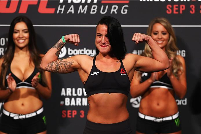 HAMBURG, GERMANY - SEPTEMBER 02:  Ashlee Evans-Smith of the USA is pictured during the UFC Fight Night Weigh-in held at Barclaycard Arena on September 2, 2016 in Hamburg, Germany.  Andrei 'The Pit Bull' Arlovski and Josh 'The Warmaster' Barnett will fight
