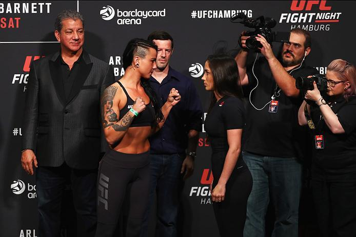 HAMBURG, GERMANY - SEPTEMBER 02:  Veronica Macedo of Venezuela and Ashlee Evans-Smith of the USA come face to face during the UFC Fight Night Weigh-in held at Barclaycard Arena on September 2, 2016 in Hamburg, Germany.  Andrei 'The Pit Bull' Arlovski and