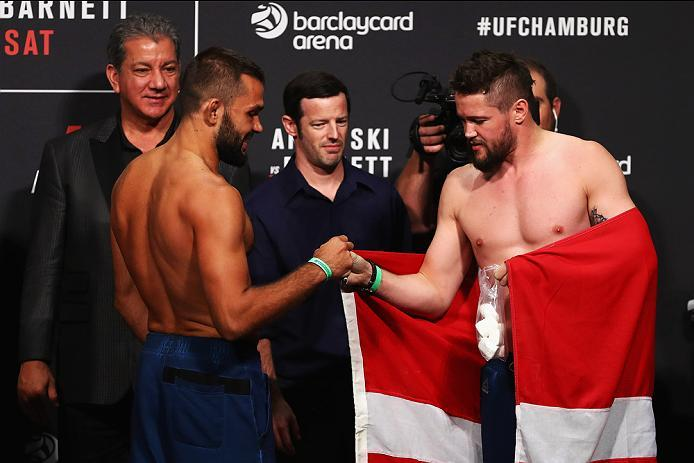 HAMBURG, GERMANY - SEPTEMBER 02:  Nicolas Dalby of Denmark and Peter Sobotta of Poland and Germany come face to face during the UFC Fight Night Weigh-in held at Barclaycard Arena on September 2, 2016 in Hamburg, Germany.  Andrei 'The Pit Bull' Arlovski an