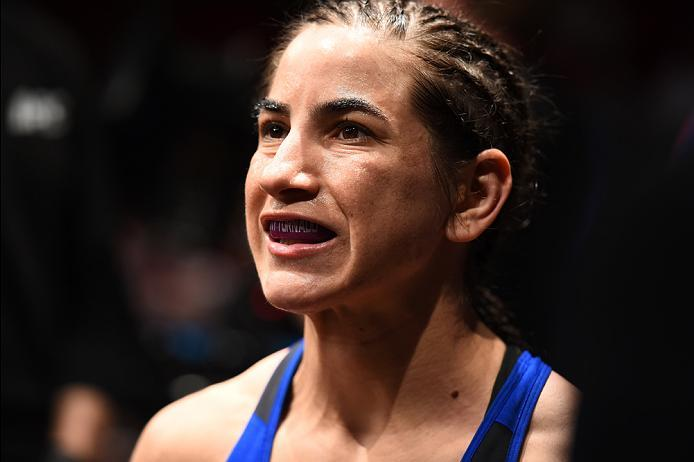 HOUSTON, TX - FEBRUARY 04:  Tecia Torres prepares to enter the Octagon before facing Bec Rawlings of Australia in their women's strawweight bout during the UFC Fight Night event at the Toyota Center on February 4, 2017 in Houston, Texas. (Photo by Jeff Bo
