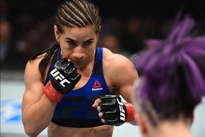 HOUSTON, TX - FEBRUARY 04:  (L-R) Tecia Torres circles Bec Rawlings of Australia in their women's strawweight bout during the UFC Fight Night event at the Toyota Center on February 4, 2017 in Houston, Texas. (Photo by Jeff Bottari/Zuffa LLC/Zuffa LLC via