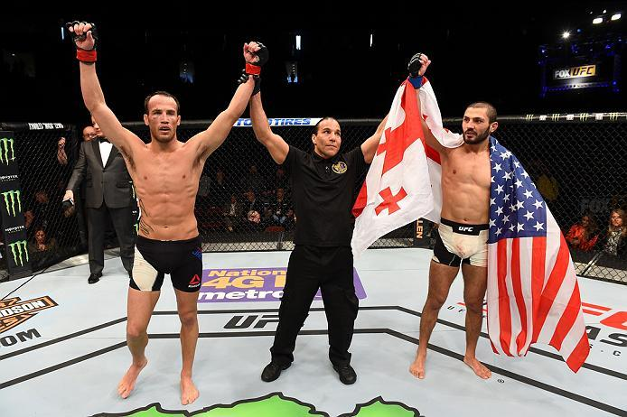 NEWARK, NJ - JANUARY 30:  (R-L) Levan Makashvili and Damon Jackson raise their hands after their featherweight bout during the UFC Fight Night event at the Prudential Center on January 30, 2016 in Newark, New Jersey. (Photo by Josh Hedges/Zuffa LLC/Zuffa