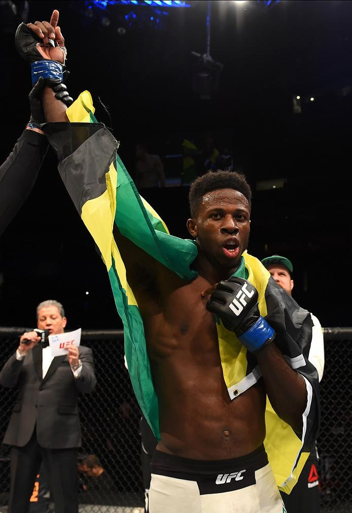 NEWARK, NJ - JANUARY 30:  Randy Brown celebrates his victory over Matt Dwyer in their welterweight bout during the UFC Fight Night event at the Prudential Center on January 30, 2016 in Newark, New Jersey. (Photo by Josh Hedges/Zuffa LLC/Zuffa LLC via Gett