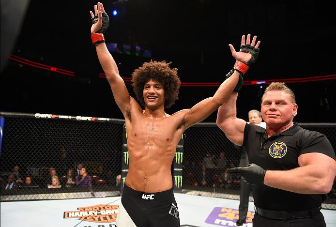 NEWARK, NJ - JANUARY 30:  Alex Caceres celebrates her victory over Masio Fullen in their featherweight bout during the UFC Fight Night event at the Prudential Center on January 30, 2016 in Newark, New Jersey. (Photo by Josh Hedges/Zuffa LLC/Zuffa LLC via
