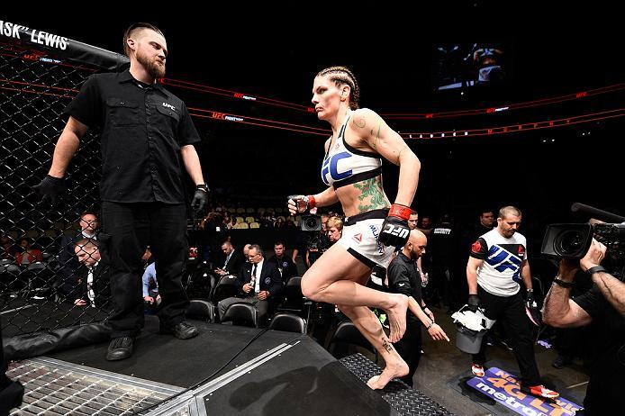 PITTSBURGH, PA - FEBRUARY 21:  Lauren Murphy prepares to enter the Octagon before facing Kelly Faszholz in their women's bantamweight bout during the UFC Fight Night event at Consol Energy Center on February 21, 2016 in Pittsburgh, Pennsylvania. (Photo by