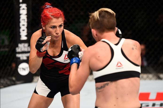 OTTAWA, ON - JUNE 18:   (L-R) Randa Markos of Iraq circles Jocelyn Jones-Lybarger of the United States in their women's strawweight bout during the UFC Fight Night event inside the TD Place Arena on June 18, 2016 in Ottawa, Ontario, Canada. (Photo by Jeff