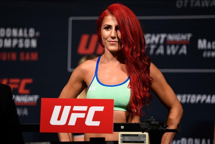 OTTAWA, ON - JUNE 17:  Randa Markos of Iraq steps on the scale during the UFC Fight Night Weigh-in inside the Arena at TD Place on June 17, 2016 in Ottawa, Ontario, Canada. (Photo by Jeff Bottari/Zuffa LLC/Zuffa LLC via Getty Images)