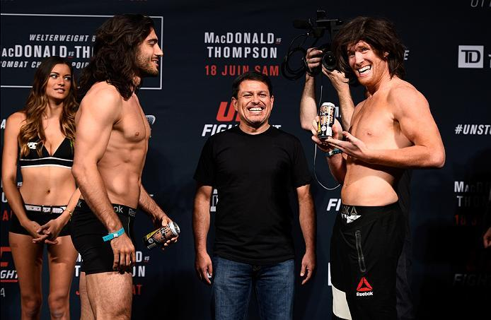 OTTAWA, ON - JUNE 17:  (L-R) Opponents Elias Theodorou of Canada and Sam Alvey of the United States face off during the UFC Fight Night Weigh-in inside the Arena at TD Place on June 17, 2016 in Ottawa, Ontario, Canada. (Photo by Jeff Bottari/Zuffa LLC/Zuf