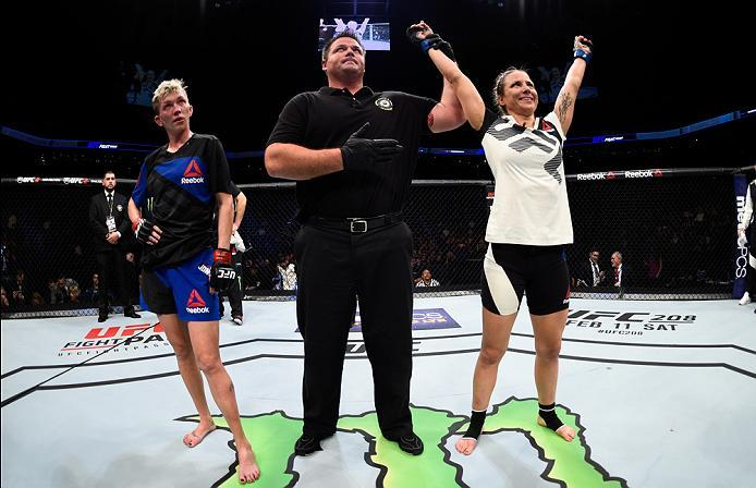 PHOENIX, AZ - JANUARY 15:  (R-L) Nina Ansaroff celebrates her victory over Jocelyn Jones-Lybarger in their women's strawweight bout during the UFC Fight Night event inside Talking Stick Resort Arena on January 15, 2017 in Phoenix, Arizona. (Photo by Jeff