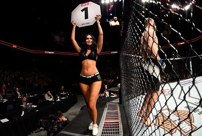PHOENIX, AZ - JANUARY 15:  UFC Octagon Girl Jamilette Gaxiola introduces the first round during the UFC Fight Night event inside Talking Stick Resort Arena on January 15, 2017 in Phoenix, Arizona. (Photo by Jeff Bottari/Zuffa LLC/Zuffa LLC via Getty Image
