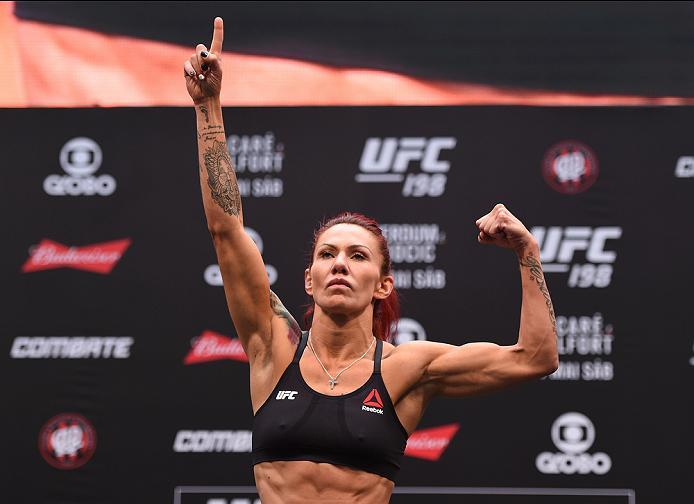 CURITIBA, BRAZIL - MAY 13:  Cristiane 'Cyborg' Justino of Brazil steps on the scale during the UFC 198 weigh-in at Arena da Baixada stadium on May 13, 2016 in Curitiba, Parana, Brazil.  (Photo by Josh Hedges/Zuffa LLC/Zuffa LLC via Getty Images)