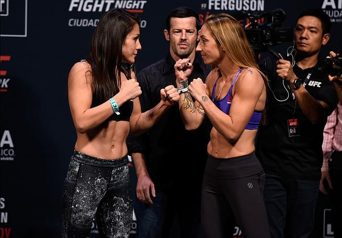 MEXICO CITY, MEXICO - NOVEMBER 04:  (L-R) Alexa Grasso of Mexico and Heather Jo Clark of the United States face off during the UFC weigh-in at the Arena Ciudad de Mexico on November 4, 2016 in Mexico City, Mexico. (Photo by Jeff Bottari/Zuffa LLC/Zuffa LL