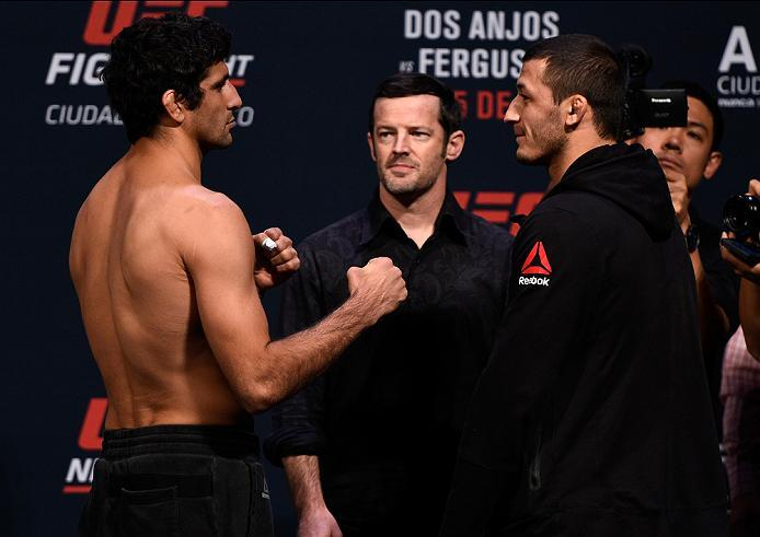 MEXICO CITY, MEXICO - NOVEMBER 04:  (L-R) Beneil Dariush of Iran and Rashid Magomedov of Russia face off during the UFC weigh-in at the Arena Ciudad de Mexico on November 4, 2016 in Mexico City, Mexico. (Photo by Jeff Bottari/Zuffa LLC/Zuffa LLC via Getty