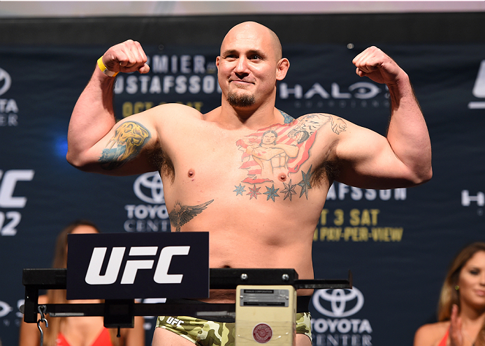 HOUSTON, TX - OCTOBER 02:  Shawn Jordan steps on the scale during the UFC 192 weigh-in at the Toyota Center on October 2, 2015 in Houston, Texas. (Photo by Josh Hedges/Zuffa LLC/Zuffa LLC via Getty Images)