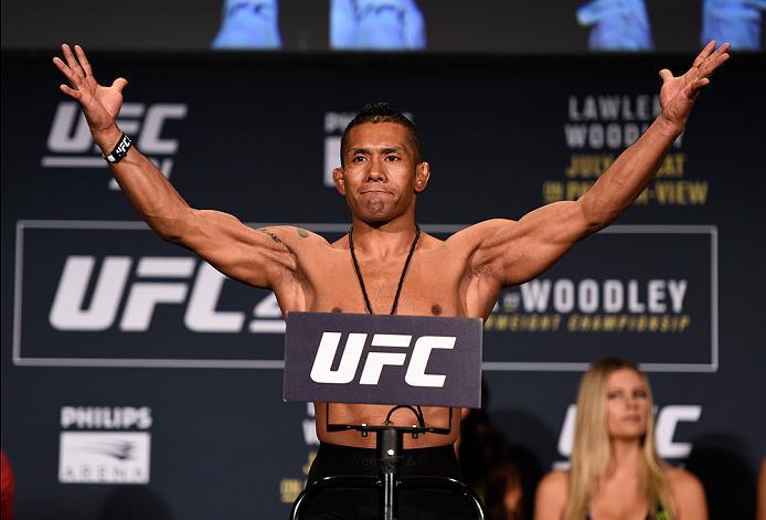 ATLANTA, GA - JULY 29:  Fredy Serrano of Columbia steps on the scale during the UFC 201 weigh-in at Fox Theatre on July 29, 2016 in Atlanta, Georgia. (Photo by Jeff Bottari/Zuffa LLC/Zuffa LLC via Getty Images)