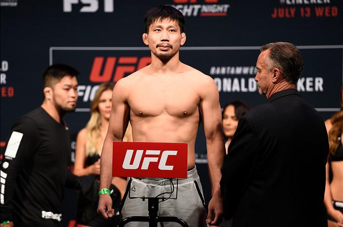 SIOUX FALLS, SD - JULY 12:   Keita Nakamura steps onto the scale during the UFC Fight Night weigh-in at Denny Sanford Premier Center on July 12, 2016 in Sioux Falls, South Dakota. (Photo by Jeff Bottari/Zuffa LLC/Zuffa LLC via Getty Images)
