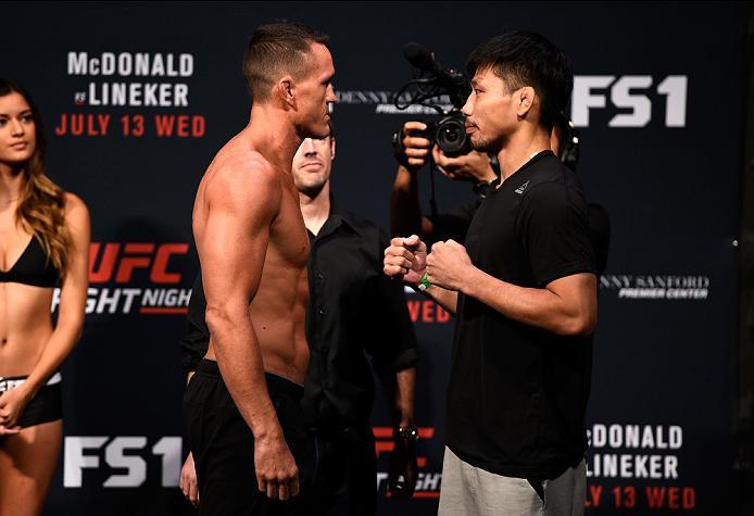 SIOUX FALLS, SD - JULY 12:   (L-R) Kyle Noke and Keita Nakamura face off during the UFC Fight Night weigh-in at Denny Sanford Premier Center on July 12, 2016 in Sioux Falls, South Dakota. (Photo by Jeff Bottari/Zuffa LLC/Zuffa LLC via Getty Images)
