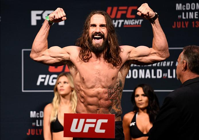 SIOUX FALLS, SD - JULY 12:   Josh Samman steps onto the scale during the UFC Fight Night weigh-in at Denny Sanford Premier Center on July 12, 2016 in Sioux Falls, South Dakota. (Photo by Jeff Bottari/Zuffa LLC/Zuffa LLC via Getty Images)