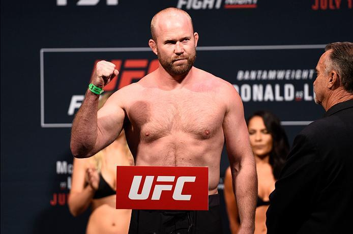 SIOUX FALLS, SD - JULY 12:   Tim Boetsch steps onto the scale during the UFC Fight Night weigh-in at Denny Sanford Premier Center on July 12, 2016 in Sioux Falls, South Dakota. (Photo by Jeff Bottari/Zuffa LLC/Zuffa LLC via Getty Images)