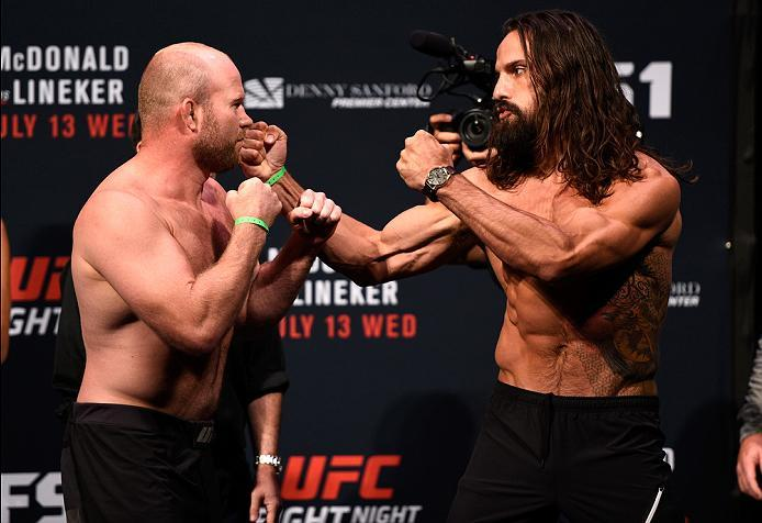 SIOUX FALLS, SD - JULY 12:   (L-R) Tim Boetsch and Josh Samman face off during the UFC Fight Night weigh-in at Denny Sanford Premier Center on July 12, 2016 in Sioux Falls, South Dakota. (Photo by Jeff Bottari/Zuffa LLC/Zuffa LLC via Getty Images)