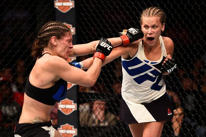 SIOUX FALLS, SD - JULY 13:   (R-L) Katlyn Chookagian punches Lauren Murphy in their women's bantamweight bout during the UFC Fight Night event on July 13, 2016 at Denny Sanford Premier Center in Sioux Falls, South Dakota. (Photo by Jeff Bottari/Zuffa LLC/