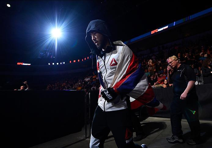 SIOUX FALLS, SD - JULY 13:   Louis Smolka prepares to enter the Octagon before facing Ben Nguyen in their flyweight bout during the UFC Fight Night event on July 13, 2016 at Denny Sanford Premier Center in Sioux Falls, South Dakota. (Photo by Jeff Bottari