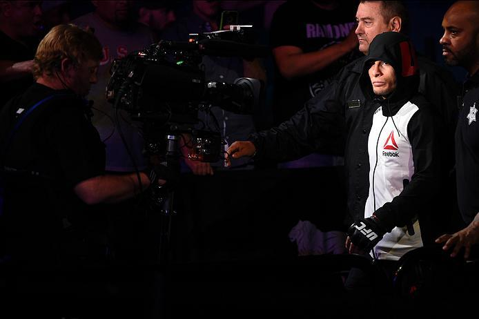 LAS VEGAS, NV - JULY 07:   Anthony Birchak of the United States enters the arena before his bantamweight bout against Dileno Lopes of Brazil during the UFC Fight Night event inside the MGM Grand Garden Arena on July 7, 2016 in Las Vegas, Nevada. (Photo by