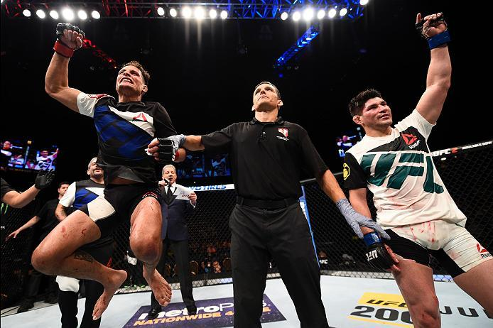 LAS VEGAS, NV - JULY 07:   Anthony Birchak (L) and Dileno Lopes (R) of Brazil react as the judges' scores are read after their bantamweight bout during the UFC Fight Night event inside the MGM Grand Garden Arena on July 7, 2016 in Las Vegas, Nevada. (Phot