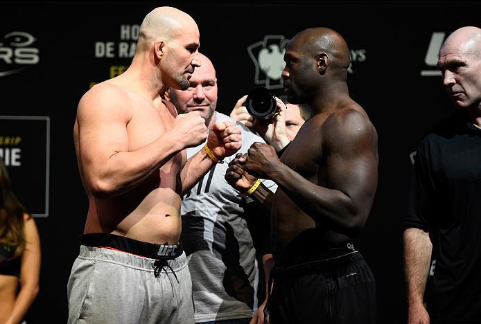 BROOKLYN, NEW YORK - FEBRUARY 10:  (L-R) Glover Teixeira of Brazil and Jared Cannonier face off during the UFC 208 weigh-in inside Kings Theater on February 10, 2017 in Brooklyn, New York. (Photo by Jeff Bottari/Zuffa LLC/Zuffa LLC via Getty Images)
