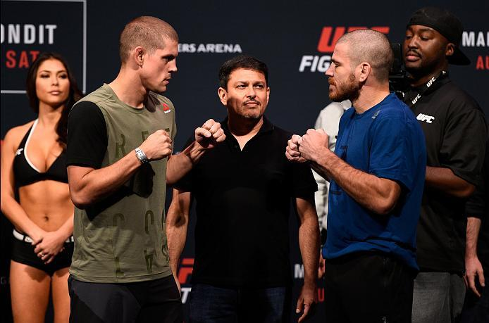 VANCOUVER, BC - AUGUST 26:  (L-R) Opponents Joe Lauzon of the United States and Jim Miller of the United States face off during the UFC Fight Night Weigh-in at Rogers Arena on August 26, 2016 in Vancouver, British Columbia, Canada. (Photo by Jeff Bottari/