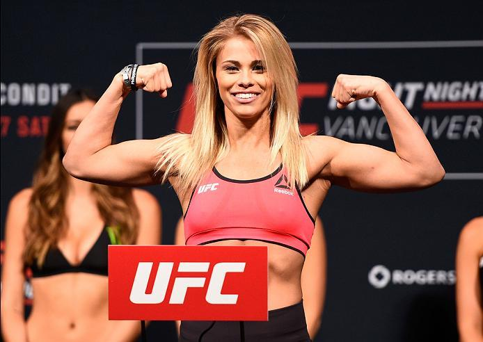 VANCOUVER, BC - AUGUST 26:  Paige VanZant of the United States steps on the scale during the UFC Fight Night Weigh-in at Rogers Arena on August 26, 2016 in Vancouver, British Columbia, Canada. (Photo by Jeff Bottari/Zuffa LLC/Zuffa LLC via Getty Images)