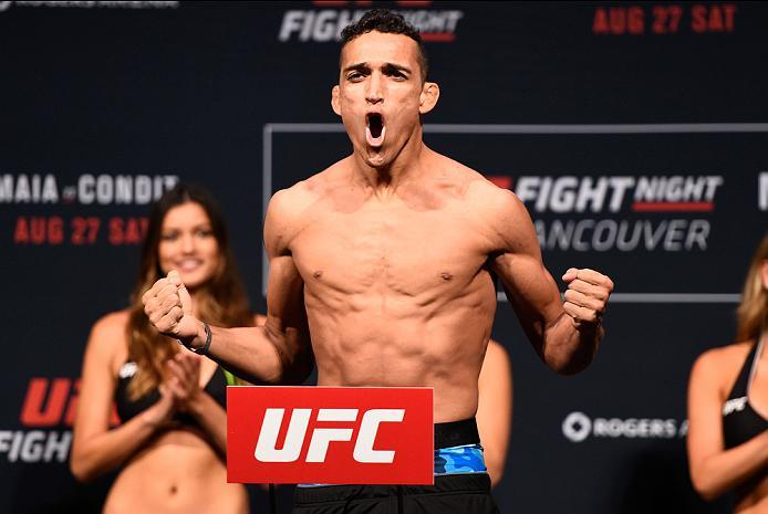 VANCOUVER, BC - AUGUST 26:  Charles Oliveira of Brazil steps on the scale during the UFC Fight Night Weigh-in at Rogers Arena on August 26, 2016 in Vancouver, British Columbia, Canada. (Photo by Jeff Bottari/Zuffa LLC/Zuffa LLC via Getty Images)