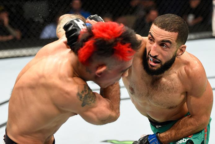 HIDALGO, TX - SEPTEMBER 17:   (R-L) Belal Muhammad  punches Augusto Montano of Mexico in their welterweight bout during the UFC Fight Night event at State Farm Arena on September 17, 2016 in Hidalgo, Texas. (Photo by Josh Hedges/Zuffa LLC/Zuffa LLC via Ge