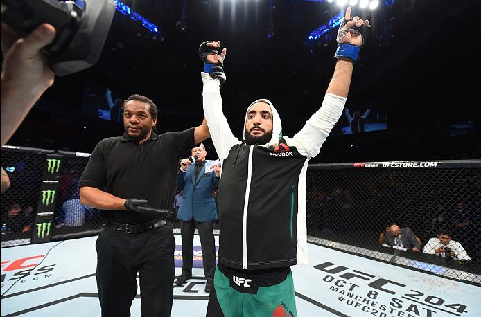 HIDALGO, TX - SEPTEMBER 17:   Belal Muhammad  celebrates his victory over Augusto Montano of Mexico in their welterweight bout during the UFC Fight Night event at State Farm Arena on September 17, 2016 in Hidalgo, Texas. (Photo by Josh Hedges/Zuffa LLC/Zu
