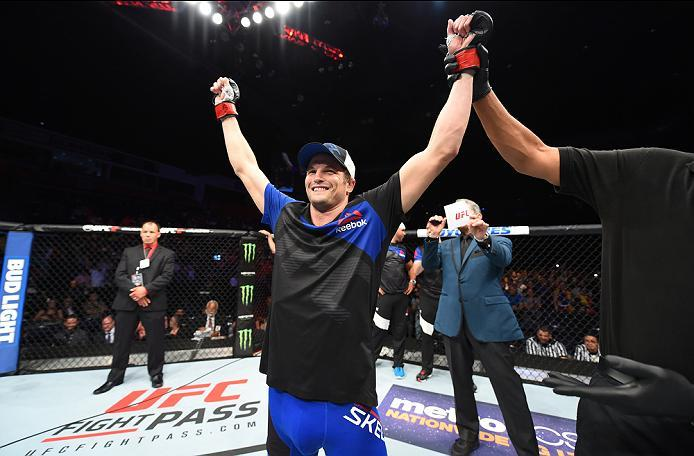 HIDALGO, TX - SEPTEMBER 17:   Chas Skelly celebrates his submission victory over Maximo Blanco of Venezuela in their featherweight bout during the UFC Fight Night event at State Farm Arena on September 17, 2016 in Hidalgo, Texas. (Photo by Josh Hedges/Zuf