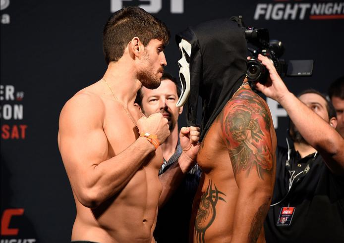HIDALGO, TX - SEPTEMBER 16:  (L-R) Antonio Carlos Junior of Brazil and Leonardo Augusto Leleco of Brazil face off during the UFC Fight Night weigh-in at the State Farm Arena on September 16, 2016 in Hidalgo, Texas. (Photo by Josh Hedges/Zuffa LLC/Zuffa LL