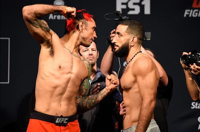 HIDALGO, TX - SEPTEMBER 16:  (L-R) Augusto Montano of Mexico and Belal Muhammad of the United States face off during the UFC Fight Night weigh-in at the State Farm Arena on September 16, 2016 in Hidalgo, Texas. (Photo by Josh Hedges/Zuffa LLC/Zuffa LLC vi
