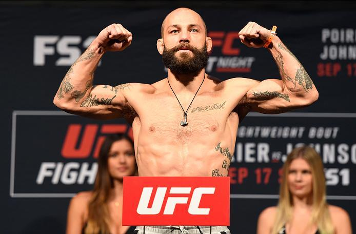 HIDALGO, TX - SEPTEMBER 16:  Sam Sicilia of the United States steps onto the scale during the UFC Fight Night weigh-in at the State Farm Arena on September 16, 2016 in Hidalgo, Texas. (Photo by Josh Hedges/Zuffa LLC/Zuffa LLC via Getty Images)