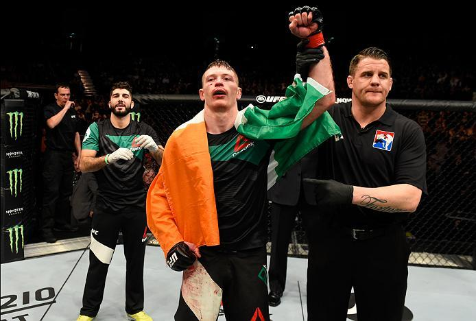 LONDON, ENGLAND - MARCH 18:  Joe Duffy of Ireland celebrates his victory over Reza Madadi of Iran in their lightweight fight during the UFC Fight Night event at The O2 arena on March 18, 2017 in London, England. (Photo by Josh Hedges/Zuffa LLC/Zuffa LLC v