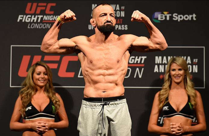 LONDON, ENGLAND - MARCH 17:  Reza Madadi of Iran poses on the scale during the UFC Fight Night weigh-in at The O2 arena on March 17, 2017 in London, England. (Photo by Josh Hedges/Zuffa LLC/Zuffa LLC via Getty Images)